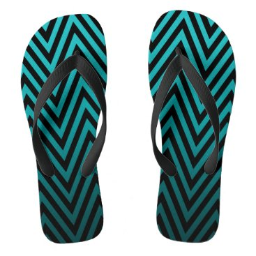 Beach Themed Ombre Chevron | teal Flip Flops