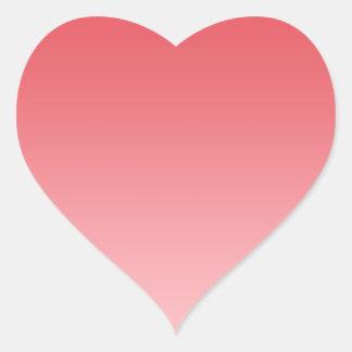 Ombre coralino pegatina en forma de corazón