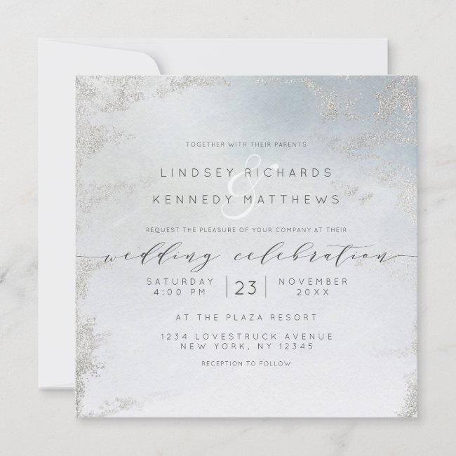 Ombre Dusty Blue Frosted Silver Wedding Square Invitation