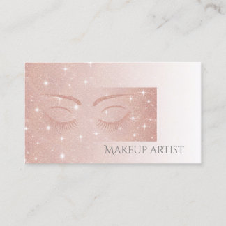 Ombre Elegant charming rose gold glittery lashes Business Card