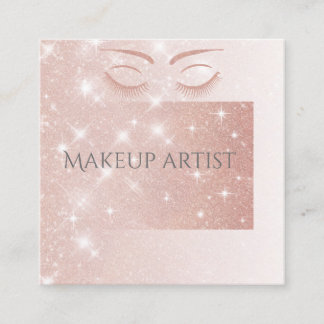 Ombre Elegant charming rose gold glittery lashes Square Business Card
