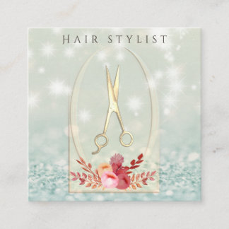 Ombre elegant modern lux glittery floral scissors square business card