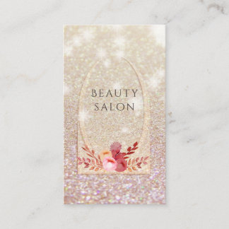 Ombre elegant modern luxury glittery floral business card