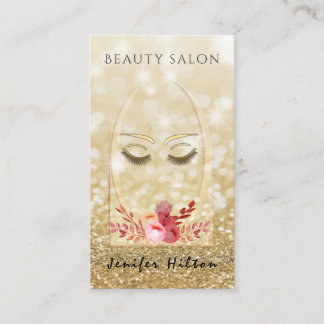 Ombre elegant modern luxury glittery floral lashes business card