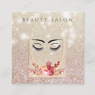 Ombre elegant modern luxury glittery floral lashes square business card