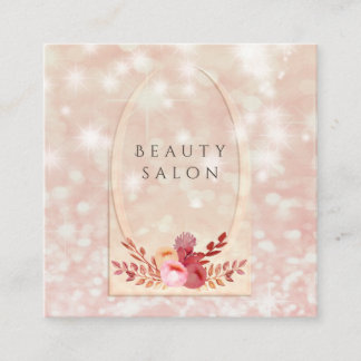 Ombre elegant modern luxury glittery floral square business card