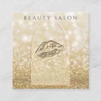 Ombre elegant modern luxury glittery gold lips square business card