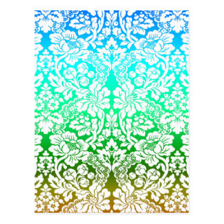 Ombre Floral Lace Pattern Blue Green Gold Postcard