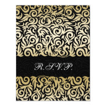 ombre gold and Black Swirling Border Wedding Card