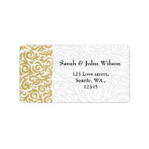 ombre gold and Black Swirling Border Wedding Label
