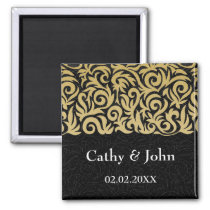 ombre gold and Black Swirling Border Wedding Magnet