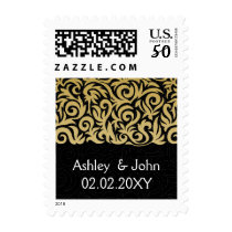 ombre gold and Black Swirling Border Wedding Postage