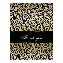 ombre gold and Black Swirling Border Wedding Postcard