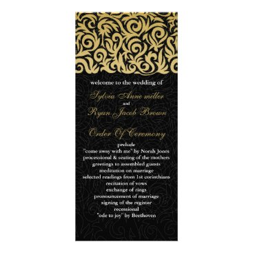 ombre gold and Black Swirling Border Wedding Rack Card