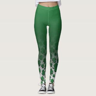 Ombre & Green Over Black Shamrock Pattern on White Leggings