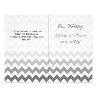 Ombre grey Chevron folded Wedding program
