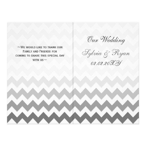 Ombre grey Chevron folded Wedding program Flyer