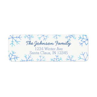 Ombre Hand Drawn Snowflake Return Address Labels