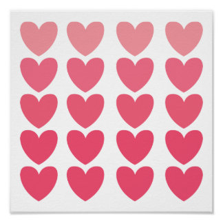 Ombre Hearts Poster