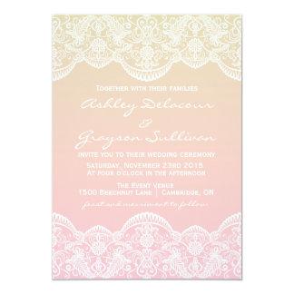 Ombre Lace Pattern Sunset Wedding Invitation
