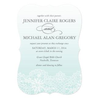 Ombre Lace Wedding Invitation in Aqua