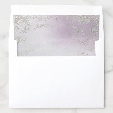 Ombre Light Purple Silver Foil Frosted Wedding Envelope Liner