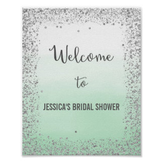 Ombre Mint and Silver Welcome Poster Print