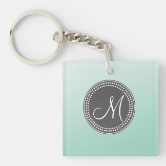 Ombre Mint Green Double-Sided Square Acrylic Keychain