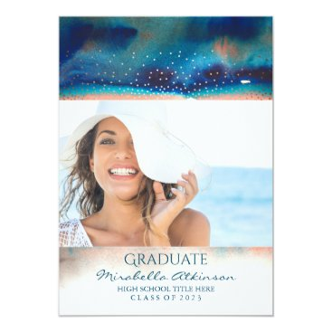 Beach Themed Ombre Modern Graduation Party Announcement