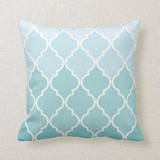 Ombre, Moroccan Pattern, Latticework - Blue White Throw Pillow