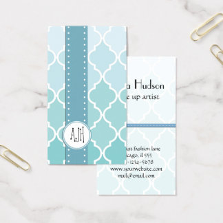 Ombre Moroccan Trellis, Latticework - Blue White Business Card