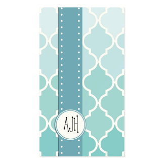 Ombre Moroccan Trellis, Latticework - Blue White Double-Sided Standard Business Cards (Pack Of 100)