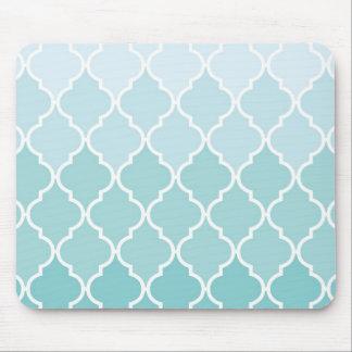 Ombre Moroccan Trellis, Latticework - Blue White Mouse Pad