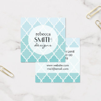 Ombre Moroccan Trellis, Latticework - Blue White Square Business Card