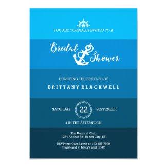 Ombre Nautical Anchor Bridal Shower Invitation