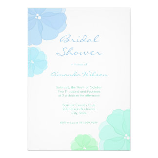 Ombre Pastel Floral Bridal Shower Invitations