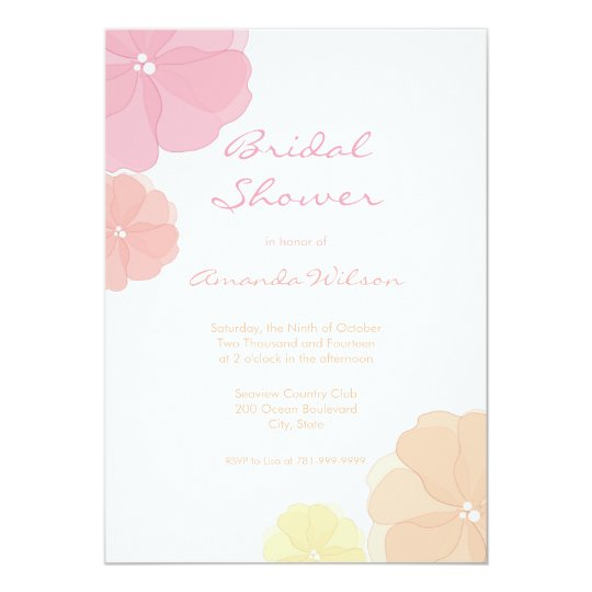 Ombre Pastel Floral Bridal Shower Invitations