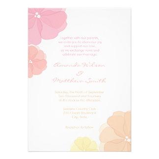 Ombre Pastel Floral Wedding Invitations