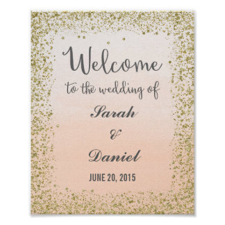 Ombre Peach and Gold Welcome Poster Print