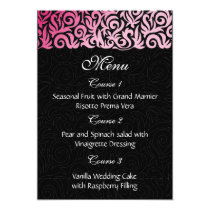 ombre pink and Black Swirling Border Wedding Card