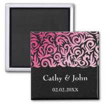 ombre pink and Black Swirling Border Wedding Magnet