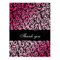 ombre pink and Black Swirling Border Wedding Postcard