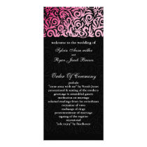 ombre pink and Black Swirling Border Wedding Rack Card
