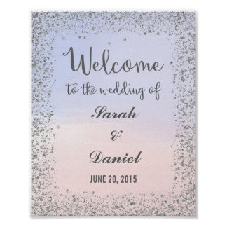 Ombre Pink and Blue and Silver Welcome Poster