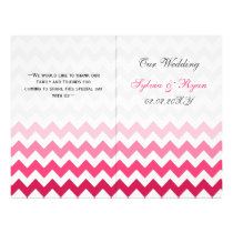 Ombre Pink Chevron folded Wedding program