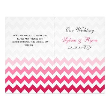 Ombre Pink Chevron folded Wedding program