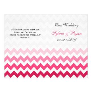 Ombre Pink Chevron folded Wedding program Full Color Flyer
