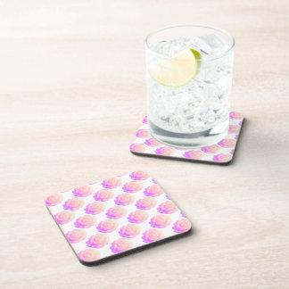 Ombre Pink Frosting Rose Change Background Color Drink Coaster