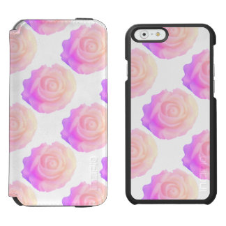 Ombre Pink Frosting Rose Change Background Color iPhone 6/6s Wallet Case
