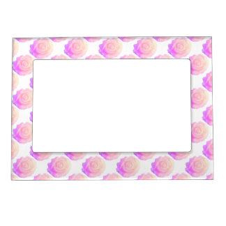 Ombre Pink Frosting Rose Change Background Color Magnetic Photo Frame